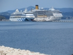 Cruise ships in the port of Corfu
