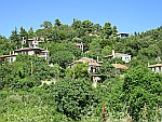 Cottages against a mountain slope, Sithonia, Greece