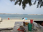 Drinking coffee at the beach of Limenaria, Thassos