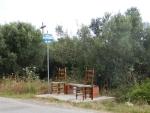 Bus stop on the road to Nea Kallikrateia, Greece
