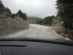 Mountain road with gravel on Kefalonia