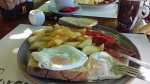 Fried eggs with bacon and fries, Mazarakata, Greece