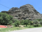 A mountain with caves in the Meteora, Greece