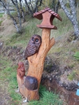 Woodcarving in Lairg, Church Hill Woodland, Scotland