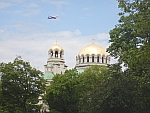 A plane above the Aleksandar Nevski cathedral