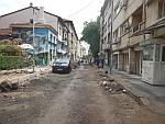 Broken street outside the center of Sofia, Bulgaria