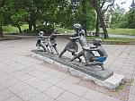 Image of tug-of-war children in the Knyazheska garden in Sofia, Bulgaria