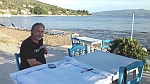 Terrace at the bay of Volos on the Pelion peninsula, Greece