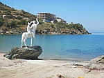 Centaur image for an unfinished hotel at Bouros beach, south Evia