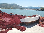 Red-colored fishing nets in the port of Koulouri on Salamina