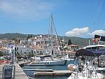 Poros is built against a hill, Greece