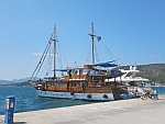 Tourist boat in the port of Poros
