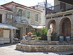 The central square in Afytos, Greece