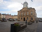 Market square with the town hall of Kelso, Scotland