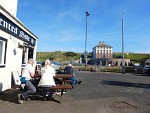 We have a coffe in the sun in Eyemouth