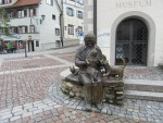 Bronze sculpture of a woman with cats, Wangen, Germany